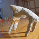 Gesture, wood, wire paper mache