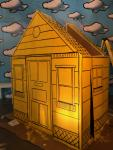 """cartoon house for """"The Shoe"""" at Cherry Art Space"""